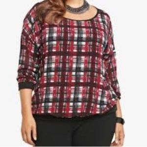 Torrid back & red plaid 3/4 length shirt sz 1/XL